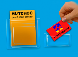 Peel and Stick Brochure Pockets | Bus. Card Holders - HUTCHCO