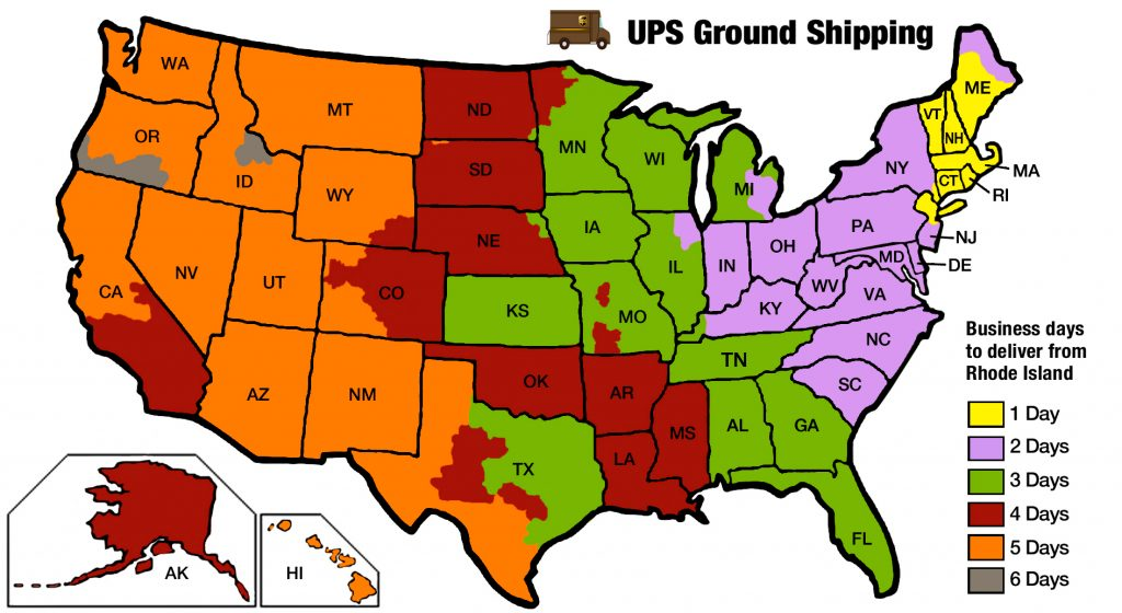 HUTCHCO DISPLAYS-delivery map for Shipping by UPS Ground