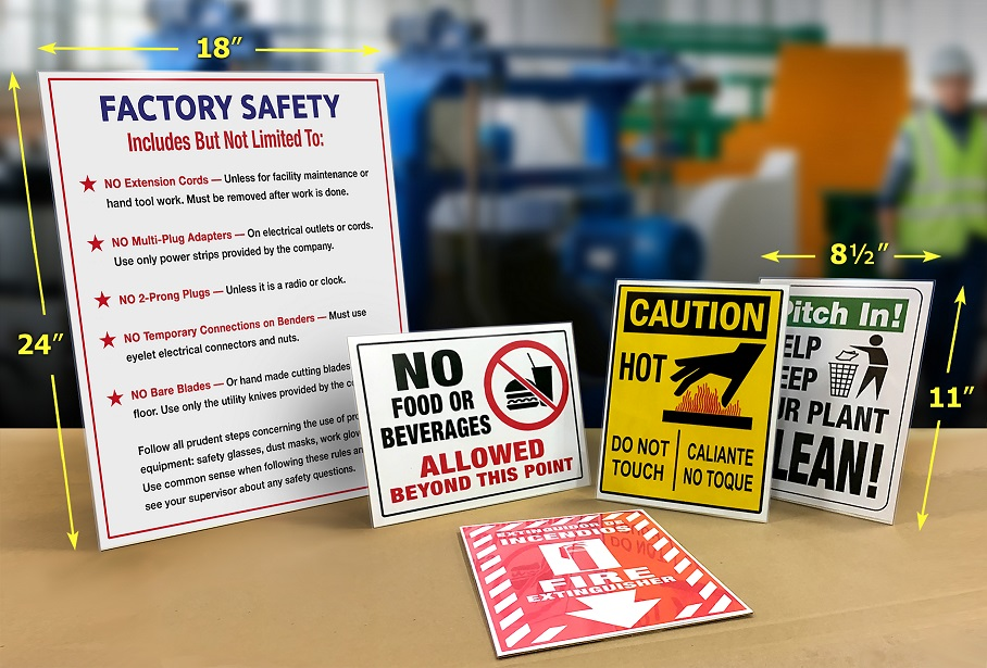 Improve Workplace Safety Compliance with Tabletop & Wall-Mount Sign Displays